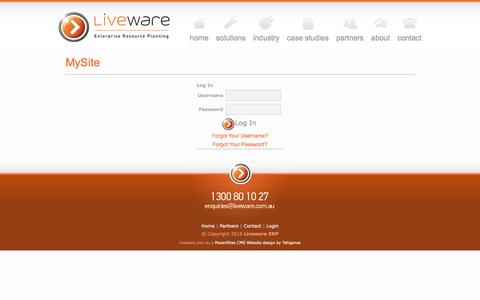 Screenshot of Login Page liveware.com.au - MySite - captured Nov. 11, 2016