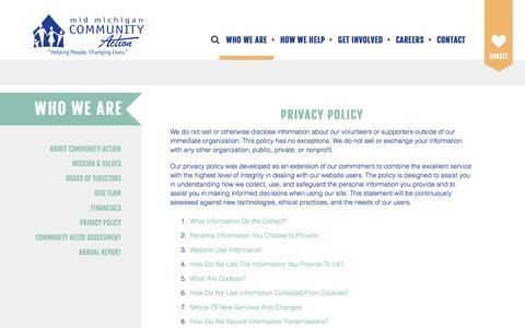 Screenshot of Privacy Page mmcaa.org - Mid Michigan Community Action Agency : Who We Are : Privacy Policy - captured Nov. 28, 2016