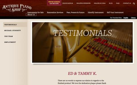 Screenshot of Testimonials Page antiquepianoshop.com - Testimonials | Antique Piano - captured Dec. 25, 2015