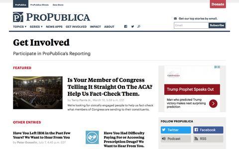 Get Involved — ProPublica