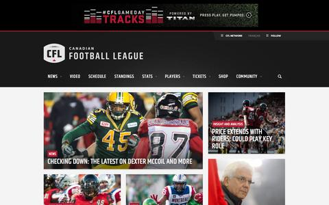 Screenshot of Home Page cfl.ca - CFL.ca - Official site of the Canadian Football League - captured Jan. 14, 2016