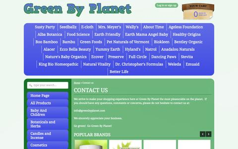 Screenshot of Contact Page greenbyplanet.com - Contact us here at Green By Planet – Green By Planet - captured Sept. 30, 2014