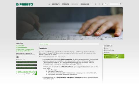 Screenshot of Services Page presto.fr - Services / Home - Presto - captured Sept. 19, 2014