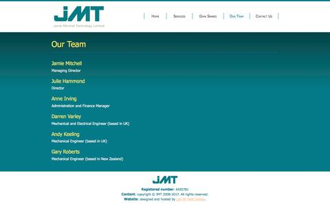 Screenshot of Team Page jmtengineering.com - Our Team : Jamie Mitchell Technology Ltd - captured May 27, 2017