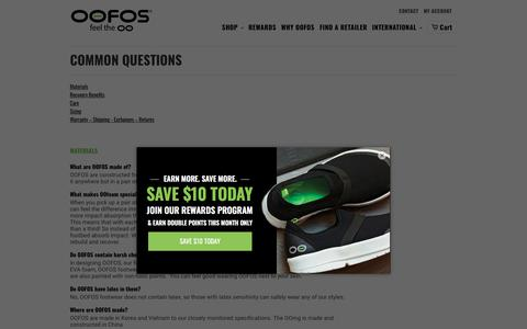 Screenshot of FAQ Page oofos.com - COMMON QUESTIONS - OOFOS - captured Feb. 7, 2018