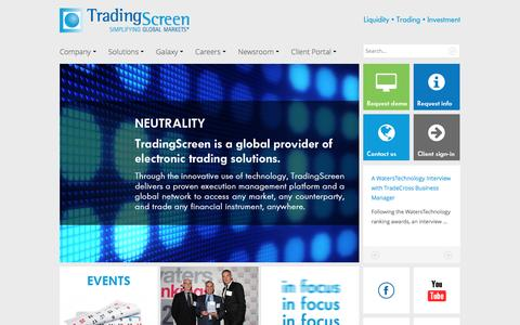 Screenshot of Home Page tradingscreen.com - TradingScreen: SaaS provider of trading & investment software solutions - captured Aug. 16, 2016