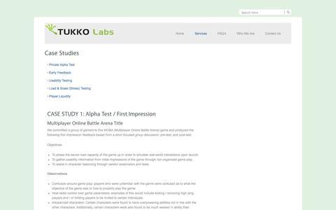 Screenshot of Case Studies Page tukkolabs.com - Case Studies - Tukko LabsTukko Labs - captured Sept. 30, 2014