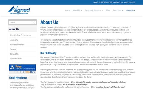 Screenshot of About Page alignedtechnologysolutions.com - About Us - Alexandria, Arlington, Tyson's Corner | Aligned Technology Solutions, LLC - captured Oct. 4, 2014