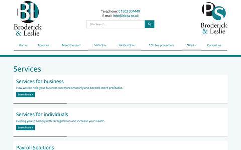 Screenshot of Services Page blcca.co.uk - Services Doncaster : Broderick & Leslie - captured Oct. 11, 2017