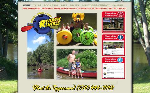 Screenshot of Home Page riversidecanoes.com - Riverside Canoes - captured Oct. 6, 2014