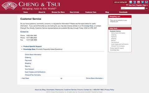 Screenshot of Support Page cheng-tsui.com - Customer Service | Cheng & Tsui - captured Sept. 23, 2014