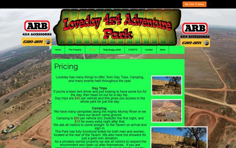 Screenshot of Pricing Page loveday4x4adventures.com - Loveday 4x4 Adventure Park Best camping in Australia - captured Oct. 26, 2018