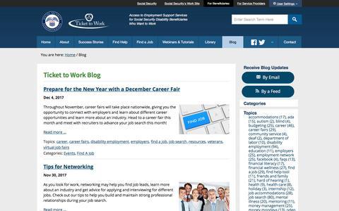 Screenshot of Blog ssa.gov - Blog - Choose Work - Ticket to Work - Social Security - captured Dec. 5, 2017