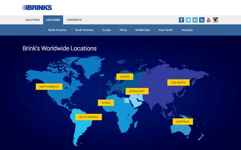 Screenshot of Contact Page Locations Page brinks.com - Brink's - Secure Transportation, Cash Handling, Security Services - captured Oct. 23, 2014