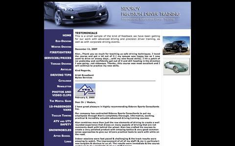 Screenshot of Testimonials Page sidorovprecisiondrivertraining.ca - Sidorov Precision Driver Training :: TESTIMONIALS - captured Oct. 7, 2014