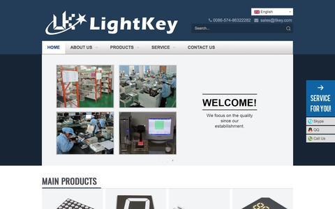 Screenshot of Home Page display-leds.com - 7 segment LED display, LED Dot matrix, LED Numeric Display, LED lamps, LED Light bar – LightKey Optoelectronics Ltd. - captured May 7, 2017