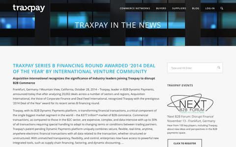 Screenshot of Press Page traxpay.com - Newsroom | Traxpay - captured Nov. 5, 2014