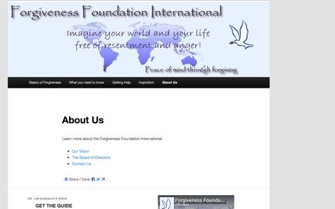 Screenshot of About Page forgivenessfoundation.org - Forgiveness Foundation International   About Us - captured Jan. 8, 2016