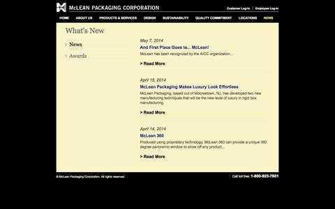Screenshot of Press Page mcleanpackaging.com - McLean Packaging Corporation - News - captured Oct. 27, 2014