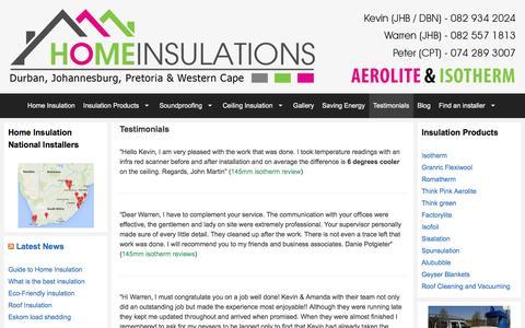 Screenshot of Testimonials Page homeinsulations.co.za - Testimonials | Customer Aerolite and Isotherm Reviews - captured Dec. 12, 2015
