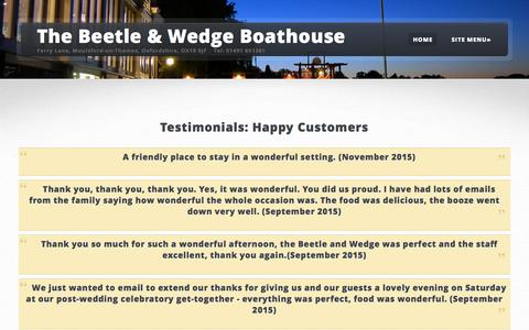 Screenshot of Testimonials Page beetleandwedge.co.uk - Contact the Beetle & Wedge Boathouse in Moulsford - captured May 23, 2016