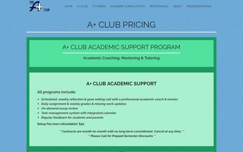 Screenshot of Pricing Page school4schools.com - Pricing: Tutoring & Monthly Support from the A+ Club - captured Nov. 19, 2016