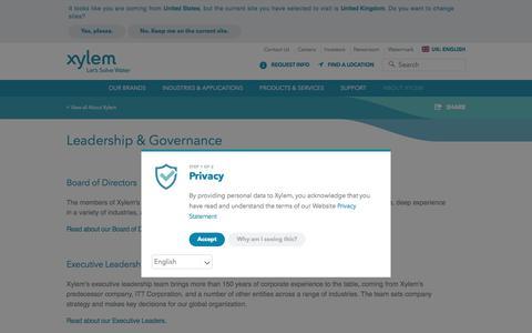 Screenshot of Team Page xylem.com - Leadership & Governance | Xylem UK - captured July 15, 2018