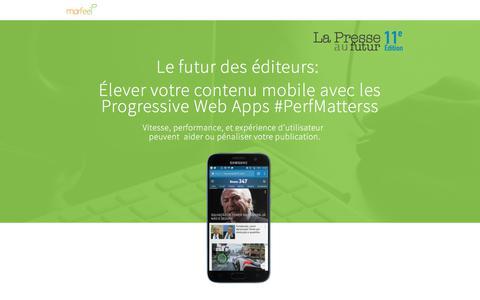 Screenshot of Landing Page marfeel.com - Progressive Web Apps Webinar - captured March 27, 2018