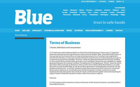 Screenshot of Terms Page trustinblue.com - Terms of Business | Reliable Local Handymen | Blue - captured Oct. 5, 2014