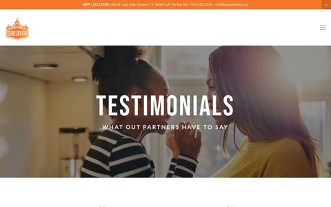 Screenshot of Testimonials Page servedenton.org - Testimonials — Serve Denton - captured Sept. 20, 2018