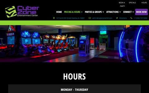 Screenshot of Hours Page cyberzone334.com - Cyber Zone Entertainment Center - Hours - captured Sept. 30, 2018