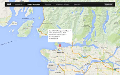 Screenshot of Locations Page ihmc.ca - IHMC - Locations - Imperial Hotel Management College - Hospitality Training Excellence - captured Oct. 6, 2014