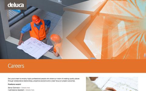 Screenshot of Jobs Page deluca.com.au - Careers - De Luca - captured June 4, 2017