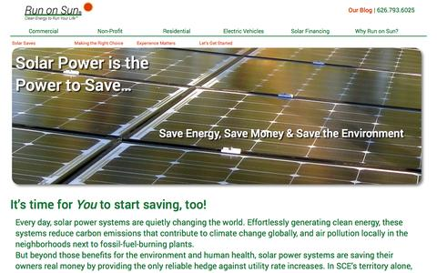Screenshot of Home Page runonsun.com - Solar Power Systems to Run Your Life from Run on Sun® - captured Oct. 1, 2015