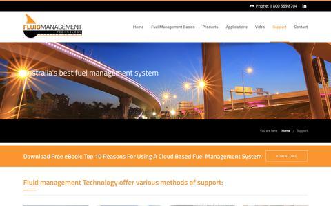 Screenshot of Support Page fluidmt.com - Fuel Management System Support | Fluid Management Technology - captured Oct. 10, 2018