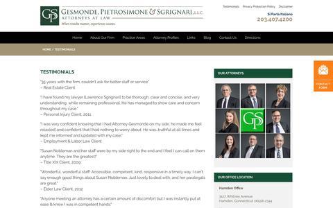 Screenshot of Testimonials Page gpsp.com - Testimonials | Gesmonde, Pietrosimone & Sgrignari, L.L.C. - captured Oct. 7, 2016