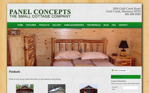 Screenshot of Products Page panelconcepts.com - Cabins, Cottages & Small Log Cabin Kits For Sale from Panel Concepts - captured Oct. 1, 2014