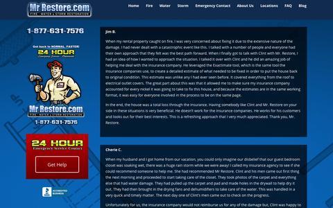 Screenshot of Testimonials Page mrrestore.com - Testimonials - MrRestore - captured Oct. 29, 2014