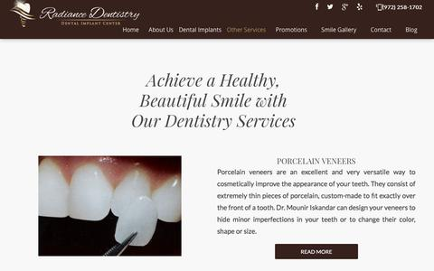 Screenshot of Services Page radiancedentistry.com - Dental Services in Irving, Texas | Radiance Dentistry - captured July 13, 2018