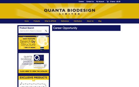 Screenshot of Jobs Page quantabiodesign.com - Career Opportunity - Quanta BioDesign - captured Sept. 29, 2018