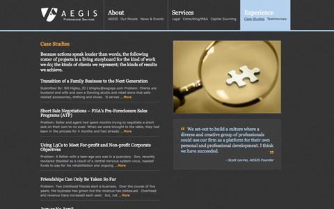 Screenshot of Case Studies Page aegisps.com - Case Studies «  AEGIS Professional Services - captured Aug. 5, 2015