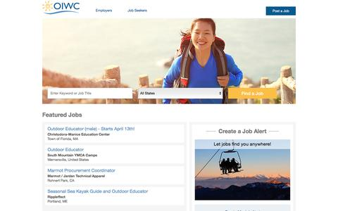 Screenshot of Jobs Page oiwc.org - Career Center Jobs - Outdoor Industries Women's Coalition - captured Feb. 15, 2016