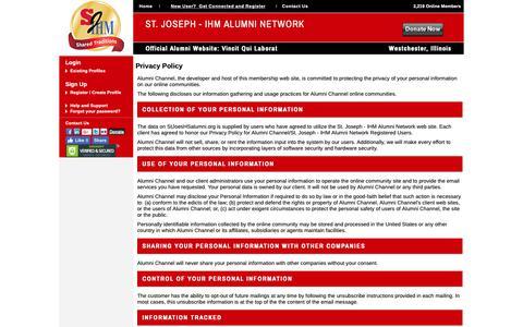 Screenshot of Privacy Page stjoeshsalumni.org - St. Joseph - IHM Alumni Network - Privacy Policy - captured Oct. 21, 2018