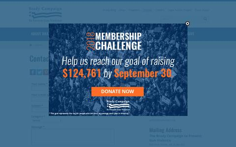 Screenshot of Contact Page bradycampaign.org - Contact | Brady Campaign to Prevent Gun Violence - captured Sept. 25, 2018