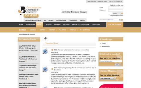 Screenshot of Press Page cambridgeshirechamber.co.uk - Latest Business News from Cambridgeshire Chambers of Commerce - captured July 13, 2017