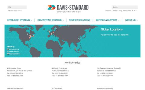 Screenshot of Locations Page davis-standard.com - Locations - Davis-Standard - captured Aug. 6, 2018