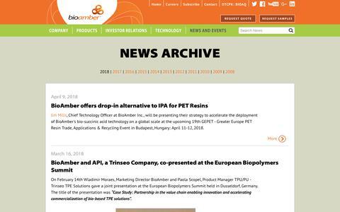 Screenshot of Press Page bio-amber.com - Archive - captured July 12, 2018