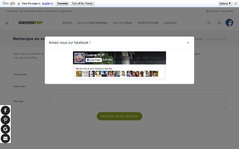 Screenshot of Contact Page cuisinepop.com - Trouvez vos idées recettes végétariennes sympa et faciles à préparer - captured March 25, 2018