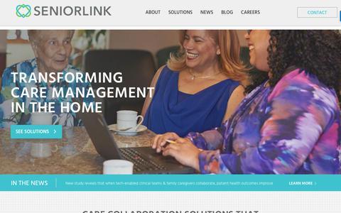 Screenshot of Home Page seniorlink.com - Seniorlink   Caregiver Services & Elder Care Solutions - captured July 9, 2018