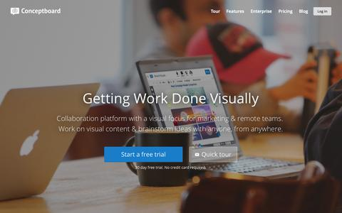 Screenshot of Home Page conceptboard.com - Getting Work Done Visually - captured Oct. 2, 2015